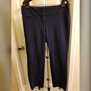Navy Blue Straight Leg Ankle Length Pants